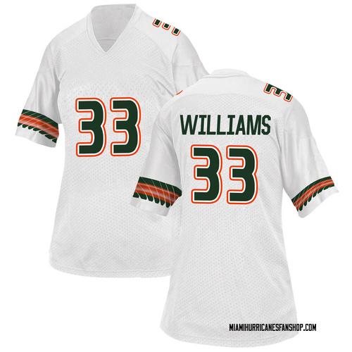 Women's Adidas Chantz Williams Miami Hurricanes Game White Alternate College Jersey