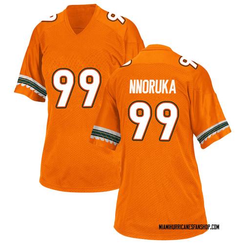 Women's Adidas Chigozie Nnoruka Miami Hurricanes Game Orange Alternate College Jersey