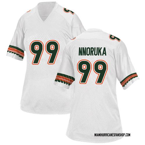 Women's Adidas Chigozie Nnoruka Miami Hurricanes Game White Alternate College Jersey