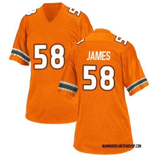 Women's Adidas Clay James Miami Hurricanes Game Orange Alternate College Jersey
