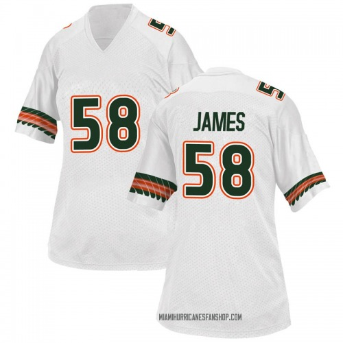Women's Adidas Clay James Miami Hurricanes Game White Alternate College Jersey