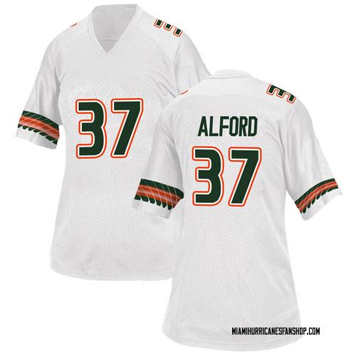 Women's Adidas Colvin Alford Miami Hurricanes Replica White Alternate College Jersey