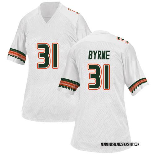 Women's Adidas Connor Byrne Miami Hurricanes Replica White Alternate College Jersey