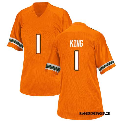 Women's Adidas D'Eriq King Miami Hurricanes Game Orange Alternate College Jersey