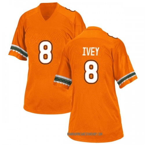 Women's Adidas DJ Ivey Miami Hurricanes Replica Orange Alternate College Jersey