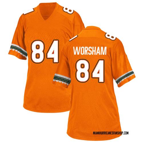 Women's Adidas Dazalin Worsham Miami Hurricanes Game Orange Alternate College Jersey