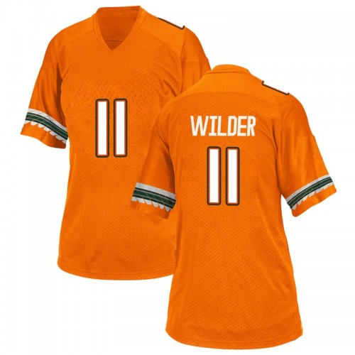 Women's Adidas Deandre Wilder Miami Hurricanes Replica Orange Alternate College Jersey