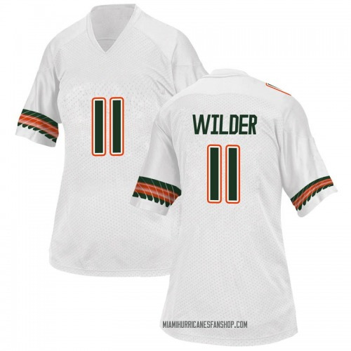 Women's Adidas Deandre Wilder Miami Hurricanes Replica White Alternate College Jersey