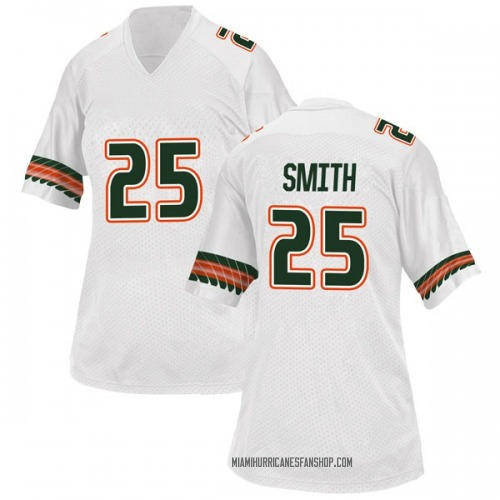 Women's Adidas Derrick Smith Miami Hurricanes Replica White Alternate College Jersey