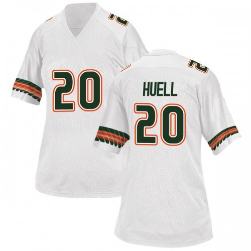 Women's Adidas Dewan Huell Miami Hurricanes Replica White Alternate College Jersey