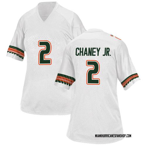 Women's Adidas Donald Chaney Jr. Miami Hurricanes Game White Alternate College Jersey
