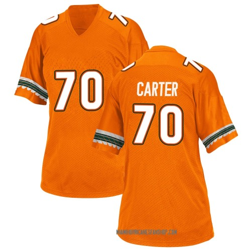 Women's Adidas Earnest Carter Miami Hurricanes Game Orange Alternate College Jersey