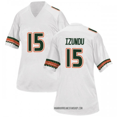 Women's Adidas Ebuka Izundu Miami Hurricanes Game White Alternate College Jersey