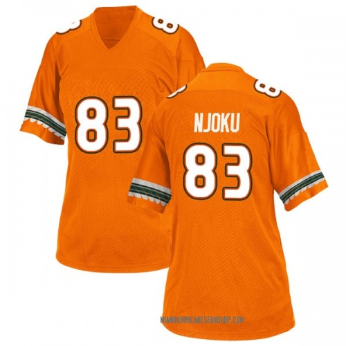 Women's Adidas Evidence Njoku Miami Hurricanes Game Orange Alternate College Jersey