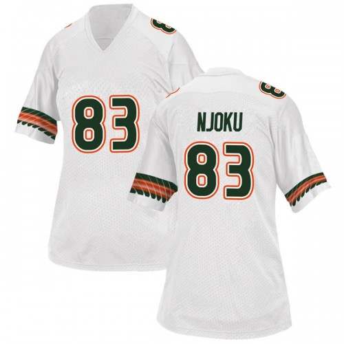 Women's Adidas Evidence Njoku Miami Hurricanes Replica White Alternate College Jersey