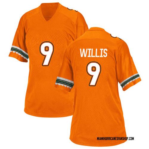 Women's Adidas Gerald Willis III Miami Hurricanes Replica Orange Alternate College Jersey