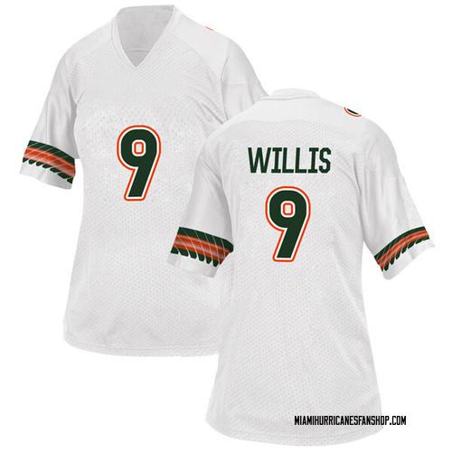 Women's Adidas Gerald Willis III Miami Hurricanes Replica White Alternate College Jersey