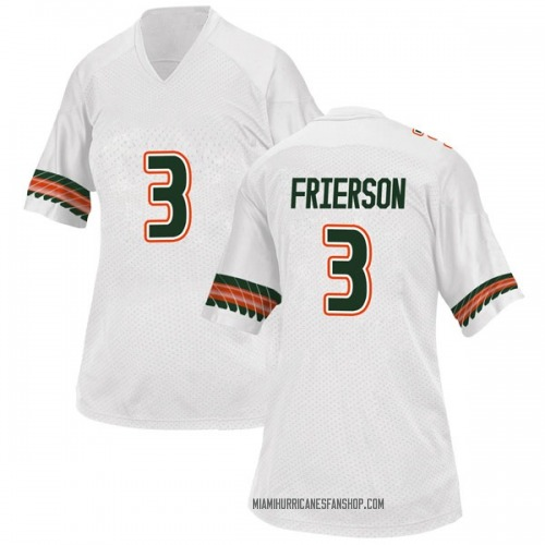 Women's Adidas Gilbert Frierson Miami Hurricanes Replica White Alternate College Jersey