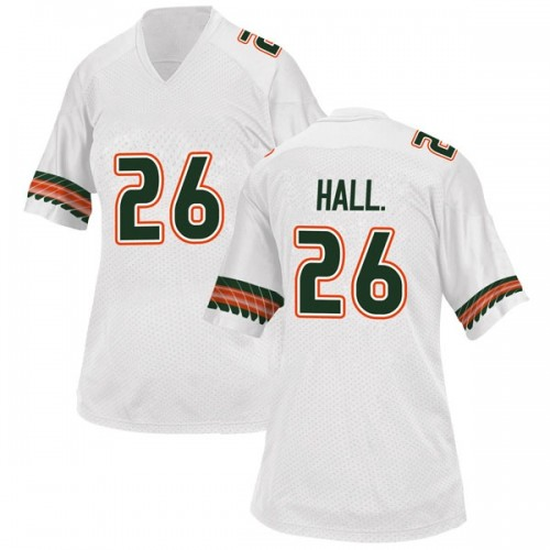 Women's Adidas Gurvan Hall Jr. Miami Hurricanes Game White Alternate College Jersey
