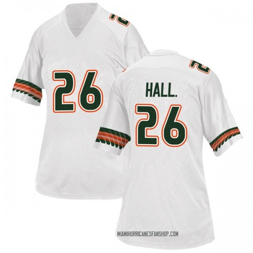 Women's Adidas Gurvan Hall Jr. Miami Hurricanes Replica White Alternate College Jersey