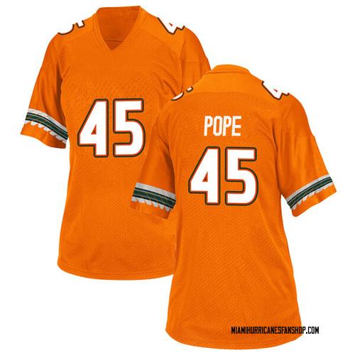 Women's Adidas Jack Pope Miami Hurricanes Replica Orange Alternate College Jersey