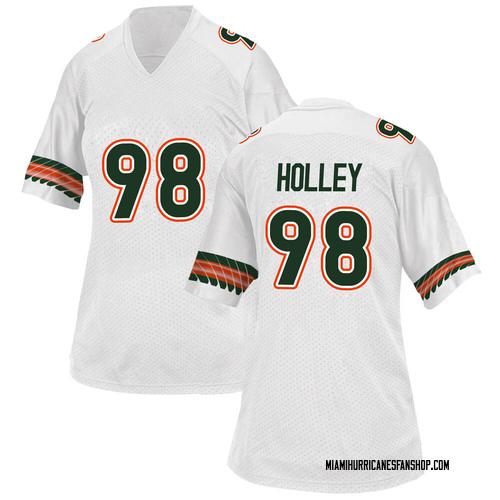 Women's Adidas Jalar Holley Miami Hurricanes Replica White Alternate College Jersey