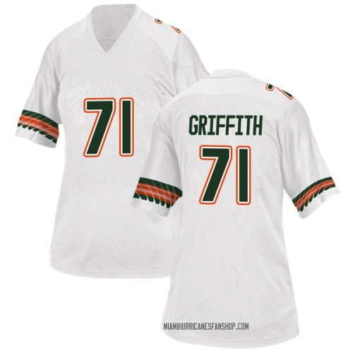 Women's Adidas Jared Griffith Miami Hurricanes Replica White Alternate College Jersey