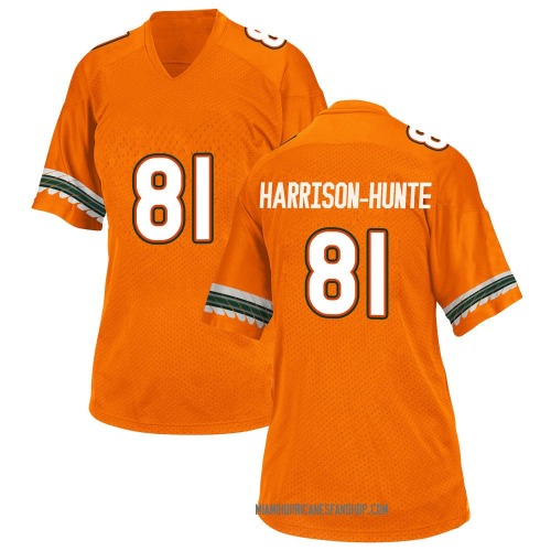 Women's Adidas Jared Harrison-Hunte Miami Hurricanes Game Orange Alternate College Jersey