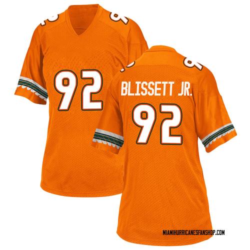 Women's Adidas Jason Blissett Jr. Miami Hurricanes Game Orange Alternate College Jersey