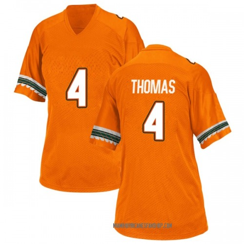 Women's Adidas Jeff Thomas Miami Hurricanes Replica Orange Alternate College Jersey