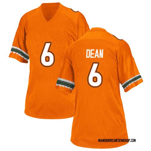 Women's Adidas Jhavonte Dean Miami Hurricanes Game Orange Alternate College Jersey