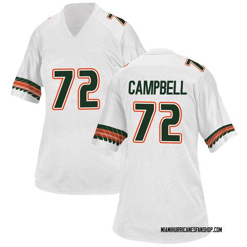 Women's Adidas John Campbell Jr. Miami Hurricanes Game White Alternate College Jersey