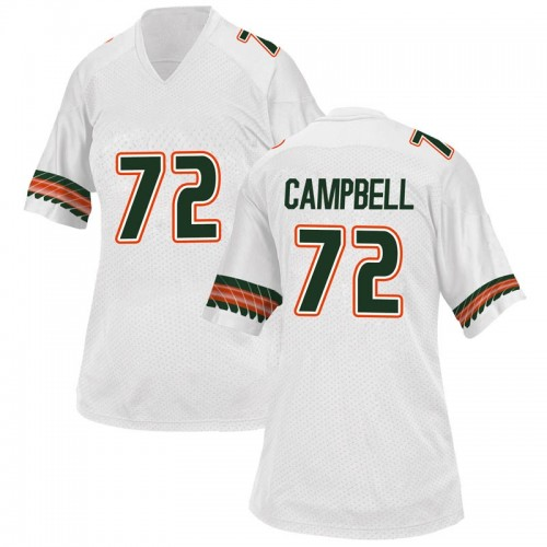 Women's Adidas John Campbell Jr. Miami Hurricanes Replica White Alternate College Jersey