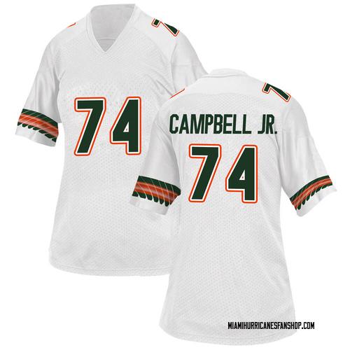 Women's Adidas John Campbell Miami Hurricanes Game White Alternate College Jersey