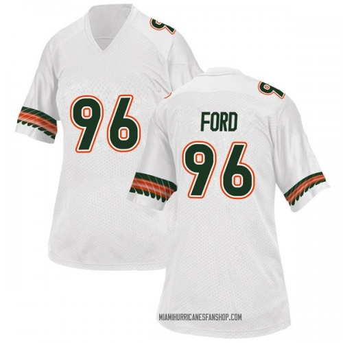 Women's Adidas Jonathan Ford Miami Hurricanes Game White Alternate College Jersey