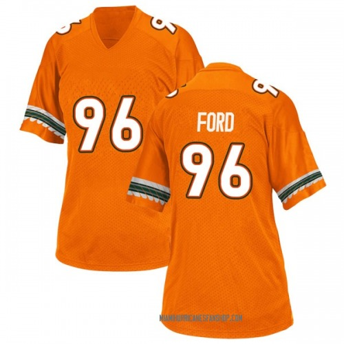 Women's Adidas Jonathan Ford Miami Hurricanes Replica Orange Alternate College Jersey