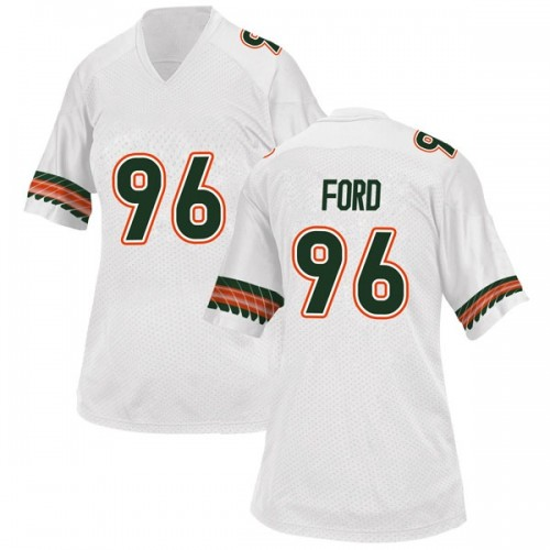 Women's Adidas Jonathan Ford Miami Hurricanes Replica White Alternate College Jersey