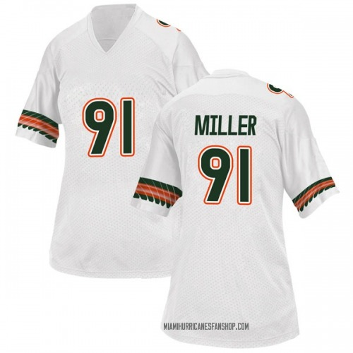 Women's Adidas Jordan Miller Miami Hurricanes Replica White Alternate College Jersey
