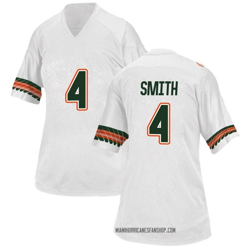 Women's Adidas Keontra Smith Miami Hurricanes Game White Alternate College Jersey