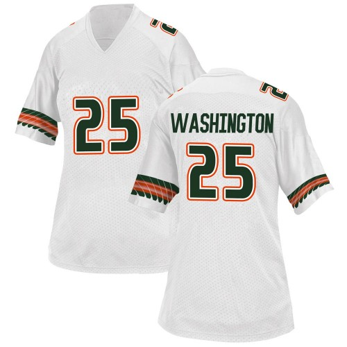 Women's Adidas Keshawn Washington Miami Hurricanes Game White Alternate College Jersey