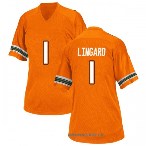 Women's Adidas Lorenzo Lingard Miami Hurricanes Replica Orange Alternate College Jersey