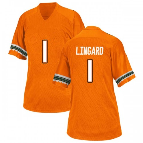 Women's Adidas Lorenzo Lingard Miami Hurricanes Replica Orange Alternate College Jersey
