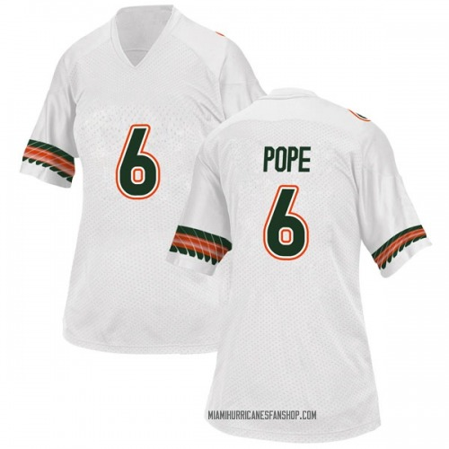Women's Adidas Mark Pope Miami Hurricanes Game White Alternate College Jersey