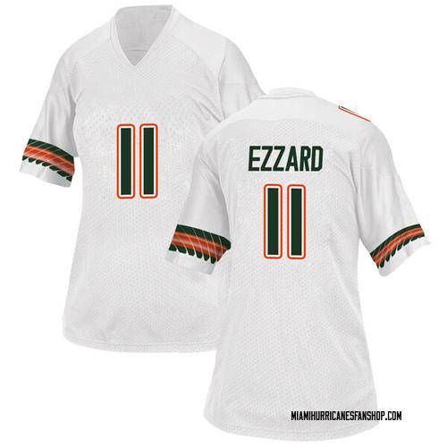 Women's Adidas Marquez Ezzard Miami Hurricanes Replica White Alternate College Jersey