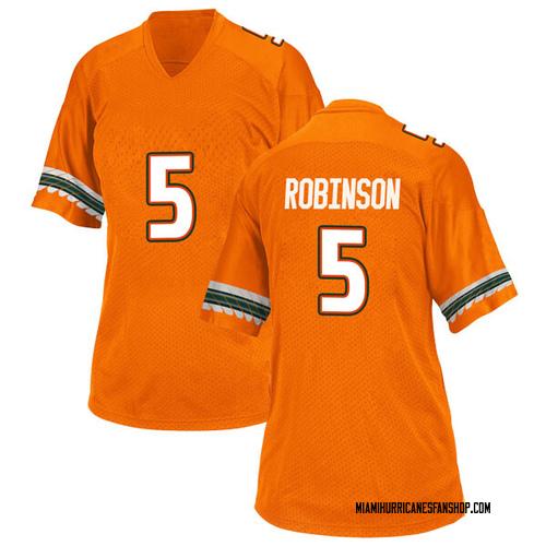 Women's Adidas Mike Robinson Miami Hurricanes Game Orange Alternate College Jersey