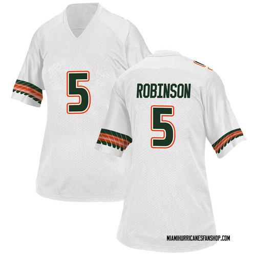 Women's Adidas Mike Robinson Miami Hurricanes Replica White Alternate College Jersey