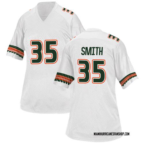 Women's Adidas Mike Smith Miami Hurricanes Replica White Alternate College Jersey