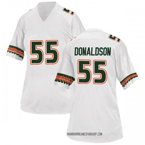 Women's Adidas Navaughn Donaldson Miami Hurricanes Replica White Alternate College Jersey