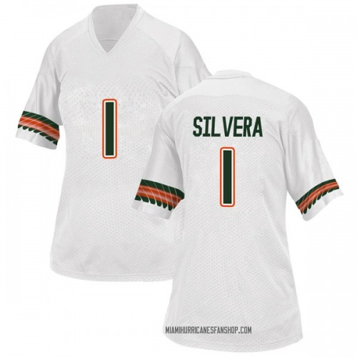 Women's Adidas Nesta Jade Silvera Miami Hurricanes Replica White Alternate College Jersey