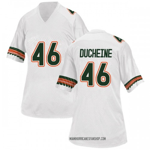 Women's Adidas Nicholas Ducheine Miami Hurricanes Replica White Alternate College Jersey